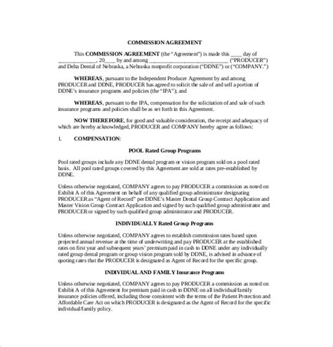 commission agreement commission sales agreement template