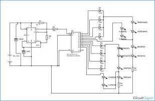 four lights traffic light circuit diagram using 555 timer ic