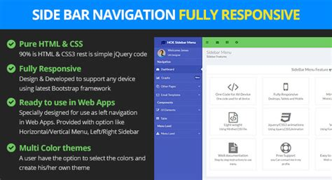 Responsive Bootstrap Sidebar Navigation By Logicalstack Codecanyon Free Website Templates With Sidebar Menu