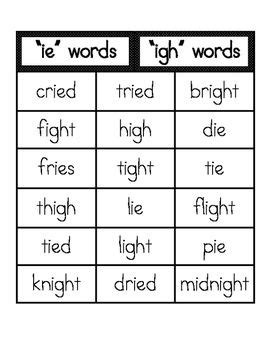 igh pattern words ie and igh word sort writing practice word study and