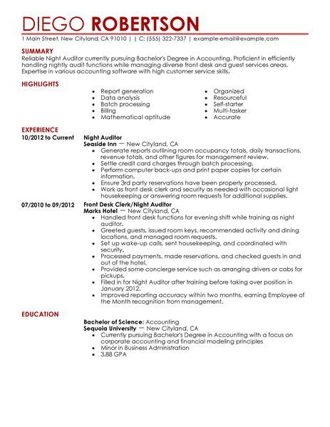 Resume Layout Examples by Best Night Auditor Resume Example Livecareer