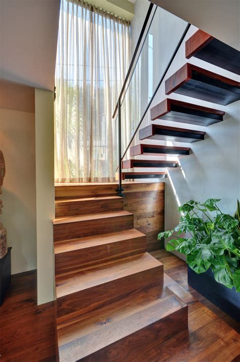 Bright Floating Staircase trend Los Angeles Asian Staircase Inspiration with Contemporary