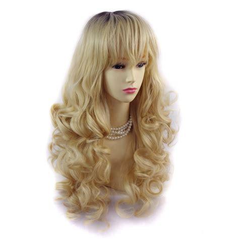obre dye dip golden medium length hair wiwigs wiwigs 174 romantic long curly wig light golden