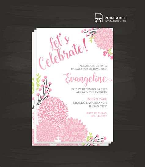 printable invitation kits let s celebrate party invitation template wedding