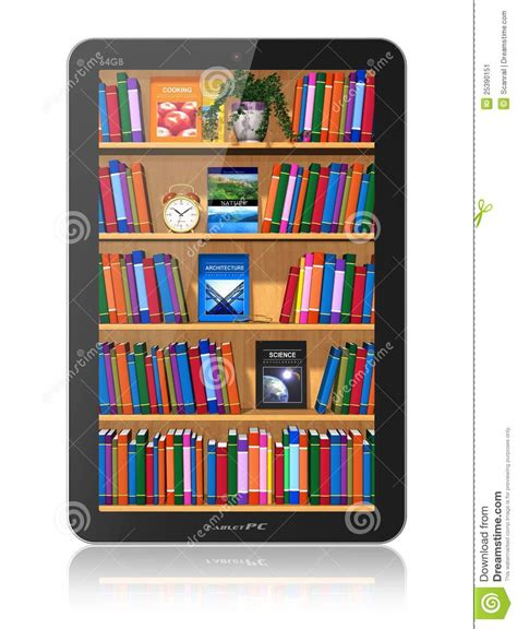 bookshelf in tablet computer stock image image 25390151