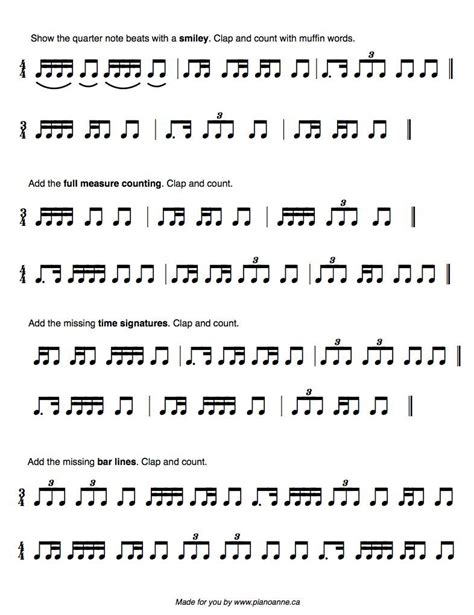 rhythm muffin worsheet free printable to use with