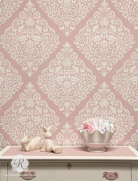 lace pattern wall lace love birds damask wall stencil royal design studio