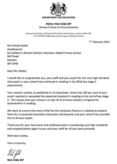 Parent Letter Lexia Minister Of State For School Standards Letter St Cuthbert S Primary School