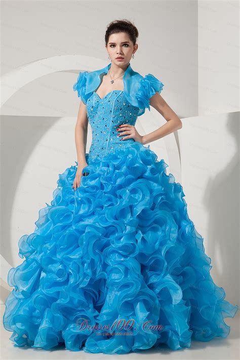 Dress Sweet Two Color Mix Import Premium Quality organza beading sky blue quinceanera dress with jacket