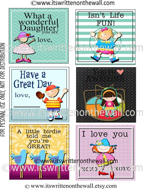 printable lunchbox notes it s written on the wall freebie 48 lunchbox notes for