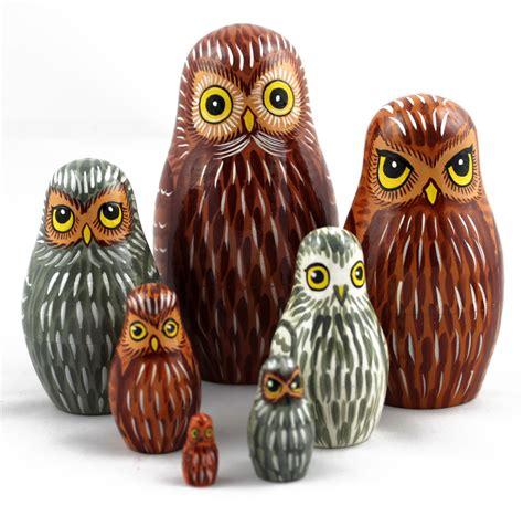 wooden doll name owls russian wooden nesting stacking handmade dolls bird