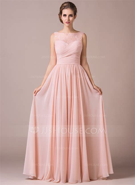 Floor Length Bridesmaid Dresses by A Line Princess Scoop Neck Floor Length Chiffon Lace Bridesmaid Dress With Ruffle 007057702