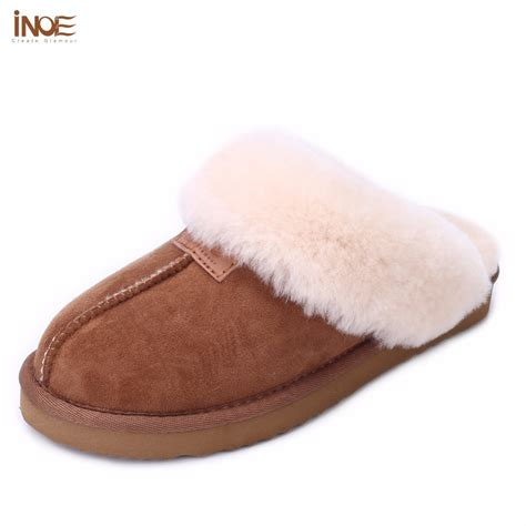 slippers for inoe sheepskin leather fur lined home shoes winter