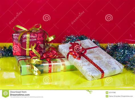yellow soft christmas gift gifts closeup and yellow background stock photography image 22141382