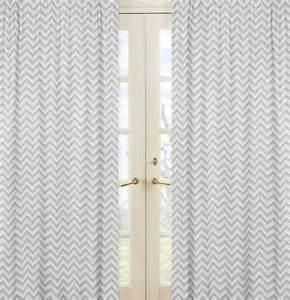 Gray amp white chevron window panel curtains zig zag pink line