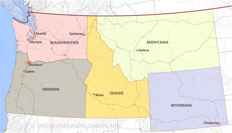 pacific northwest map usa northwestern us political map by freeworldmaps net