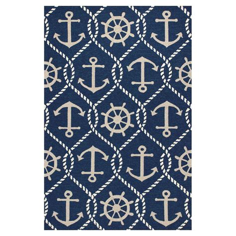 anchor area rug kas rugs anchor s away blue 7 ft 6 in x 9 ft 6 in area rug har422076x96 the home depot