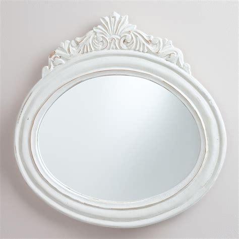 oval white mirror bathroom white oval adella mirror world market