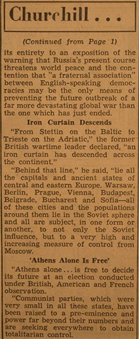 winston churchill iron curtain speech transcript account of the sinking of the titanic in the peoria herald
