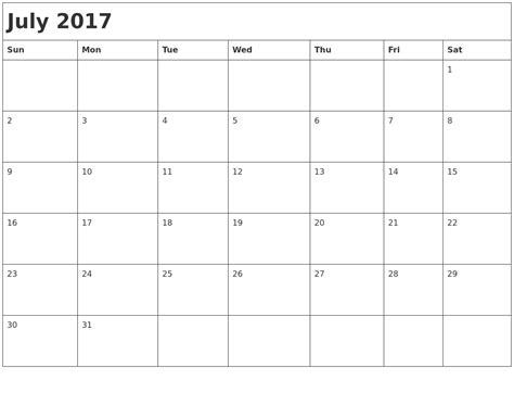 Calendar 2017 July Month Printable Calendars By Month Calendar Template 2016
