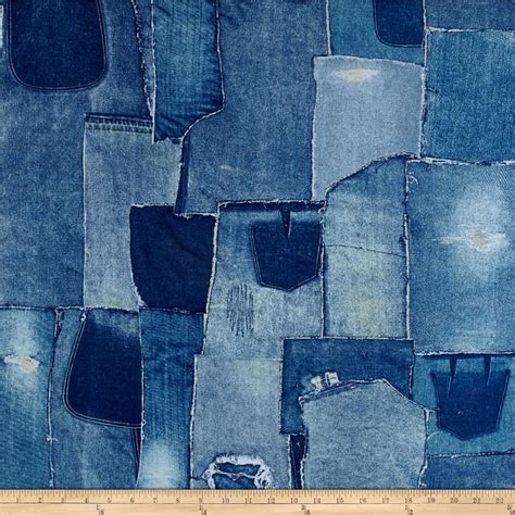 Denim Patchwork Fabric - limited edition 108 in wide back denim patchwork