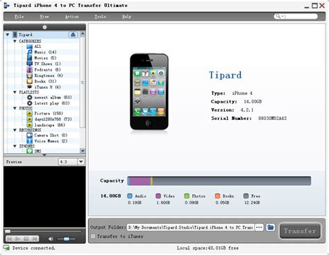 Hp Iphone 4 Copy free tipard iphone 4 to pc transfer ultimate by