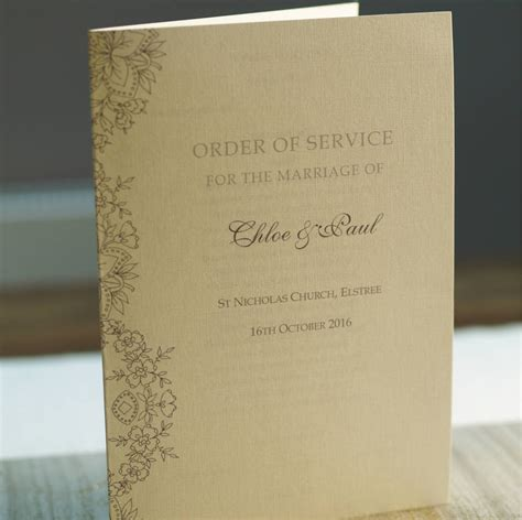 order of service lace design by beautiful day