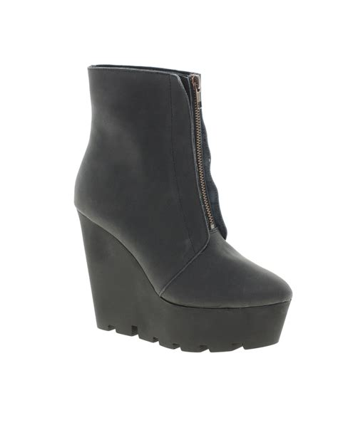 cheap wedge boots cheap monday monolit zip front wedge ankle boots in black