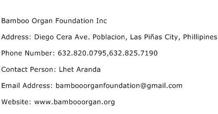 Search Contact Number By Address Bamboo Organ Foundation Inc Address Contact Number Of Bamboo Organ Foundation Inc