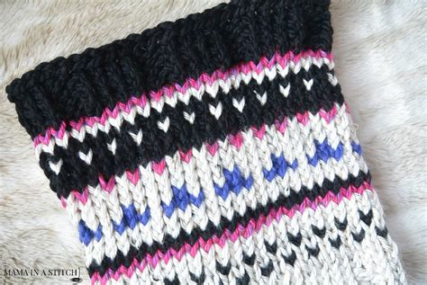 knit up alpine heights knit fair isle cowl in a stitch