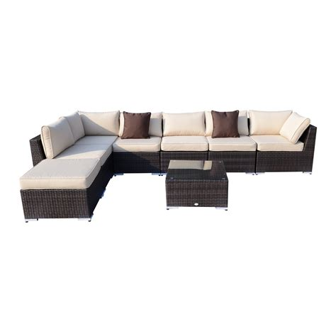 wicker outdoor sofa lounge outsunny 8pc deluxe all weather rattan sofa set patio