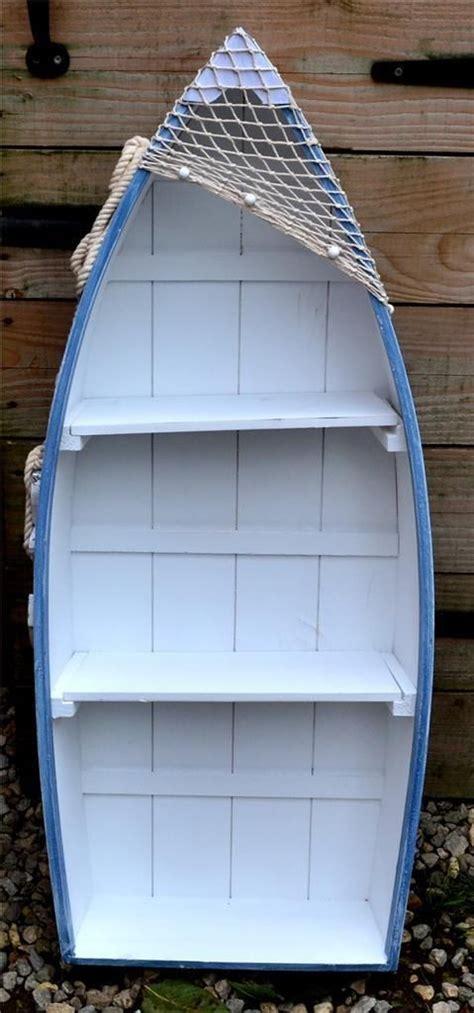 rowing boat shelf unit 62cm wooden blue white rowing boat shelves nautical