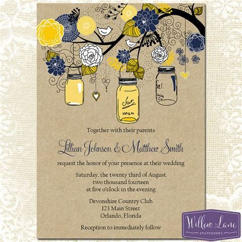 yellow wedding invitations jar wedding invitation yellow and navy jar