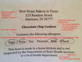 cottage license cottage food labeling