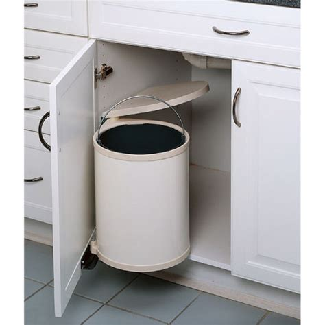under cabinet trash bins rev a shelf pivot out round waste bin for kitchen or