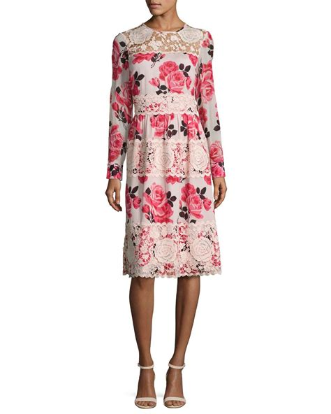 Branded Ny Collection Tosca Colorful Flower Dress kate spade new york rosa sleeve floral lace trim dress in pink lyst