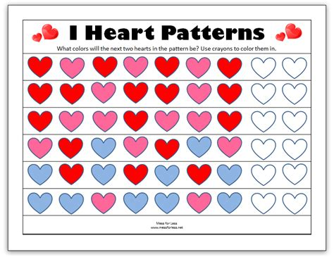 heart pattern for preschool valentine s math kindergarten worksheets mess for less