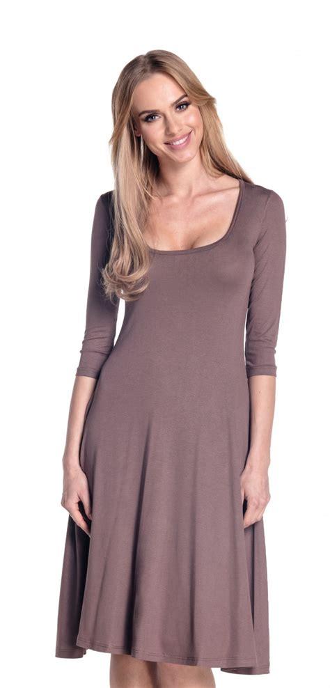 Dress D 314 empire s swing dress 3 4 sleeve skater