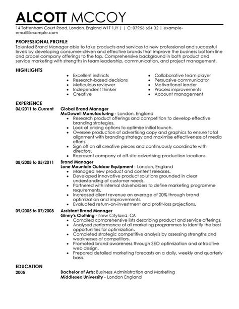 exle of marketing resume marketing resume exles marketing sle resumes