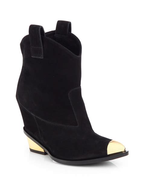 giuseppe zanotti metaltipped suede cowboy ankle boots in