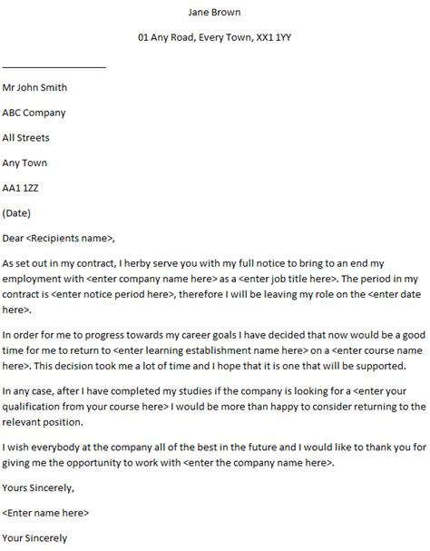 college resignation letter examples