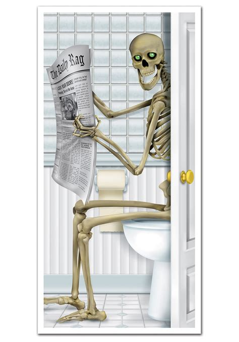 Funny skeleton bathroom door cover funny halloween decorations