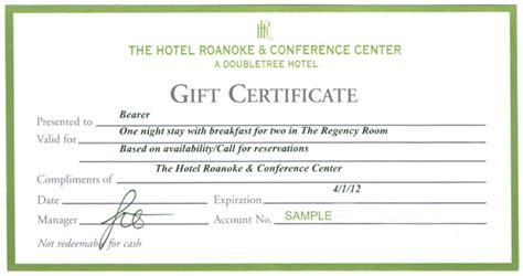 hotel gift certificate template a luxurious at the hotel roanoke joshlovesit