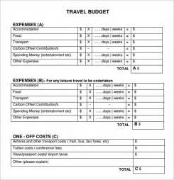 Travel Budget Planner Template Sample Travel Budget Template 6 Free Documents Download