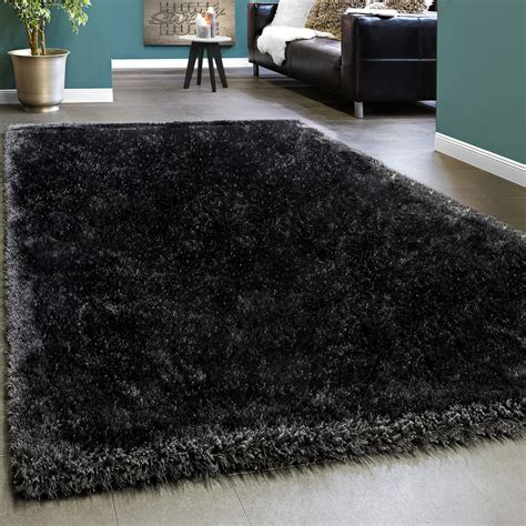 grauer teppich läufer alfombra shaggy elegante de pelo largo monocolor mullida