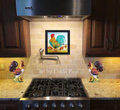 rooster kitchen decor wall backsplash painting