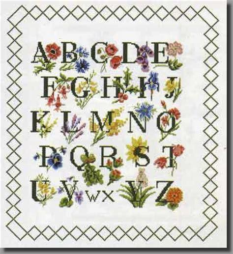 grille point de croix abecedaire, abecedaires, abc jardin