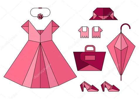 Fashion Origami Set - set of pink origami fashion accessories stock
