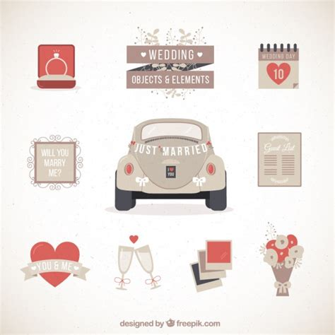 Wedding Car Vector Free by Retro Wedding Car With Other Elements Vector Free