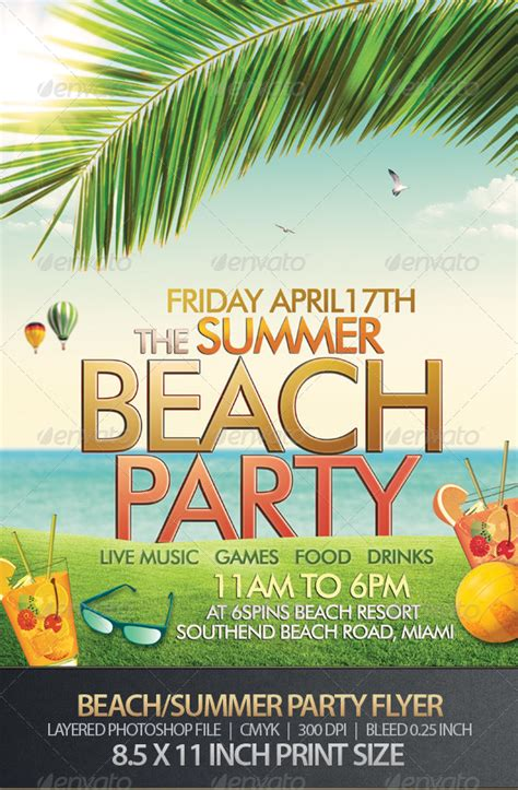 template flyer beach beach or summer party flyer party flyer infographics